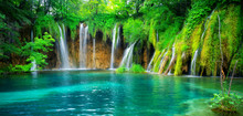 Exotic Waterfall And Lake Land...