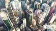 Aerial view from flying drone of Central of Hong Kong. modern skyscrapers and tall edifices of megapolis, urban transportation system. Camera moving from top to down.