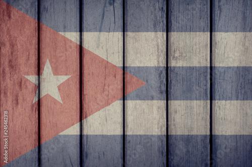 Cuba Politics News Concept: Cuban Flag Wooden Fence Wallpaper Mural