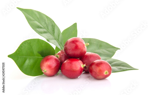 fresh coffee beans with leaf on white background
