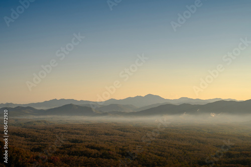 Photo sur Aluminium Arbre Mountain mist, Beautiful winter mountains landscape