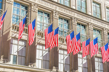 Many Flags On The Facade Of Th...