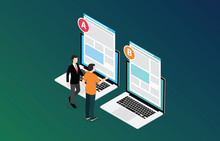 Isometric 3d Design Ab A B Split Testing Concept With Two Business Men Compare Test Result Between 2 Page Of Website Design Comparison - Vector