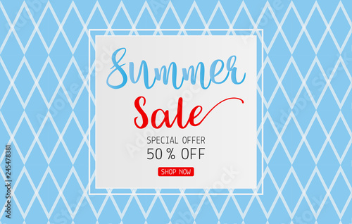 f2dde2b81 Summer sale text on card for discount promotion on blue background ...