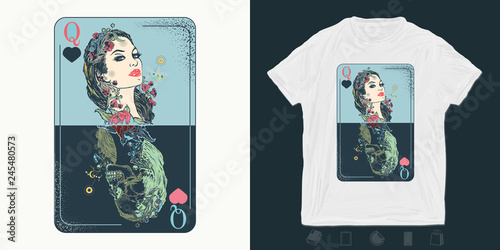 Fototapeta Queen playing card. Print for t-shirts and another, trendy apparel design. Gothic symbol of gamblings, tarot cards, success and defeat, casino, poker obraz