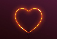 Neon Light Gold Heart Isolated On Background.