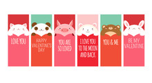 Valentine Banner With Cute Animals