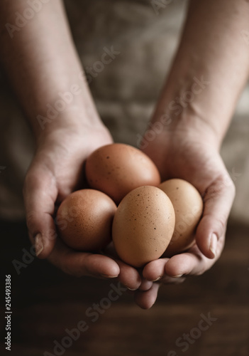 Brown organic free range eggs