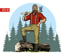 Lumberjack With Axe And Downed...