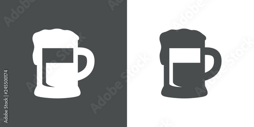 Icono plano con silueta de jarra de cerveza en gris y blanco Canvas Print