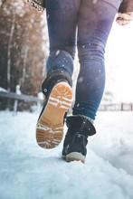 Girl Is Walking On Snow, Wintertime, Cutout