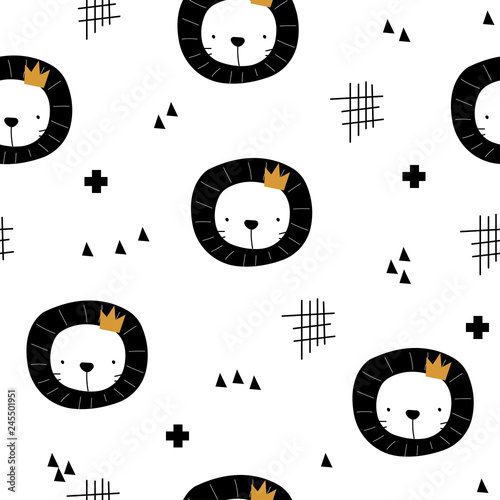 obraz lub plakat Black and white seamless pattern with lion and abstract shapes. Cute kids print. Vector hand drawn illustration.