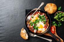 Shakshuka, Fried Eggs In Tomato Sauce For Breakfast.