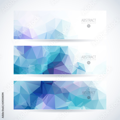 Fototapeta Vector blue ice design template set of banner, header for website with triangle geometric background obraz