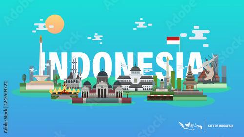 City of Indonesia Vector Illustration - Jakarta Yogyakarta Bali Aceh Pontianak Bandung Lampung Surabaya Bangka Belitung