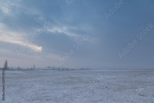 Poster Mer / Ocean Winter. Cold. Morning. Snow. Field