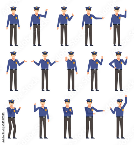 Valokuva  Set of policeman characters showing various hand gestures