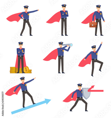 Set of policeman characters with superhero cloak showing