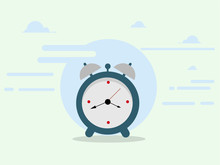 Minimal Clock Illustration In Flat Style.Vector Design Element For You Project.
