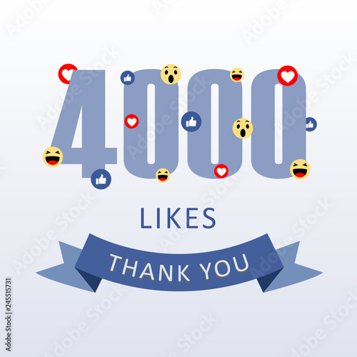 Obraz na plátně  4000 Likes Thank you number with emoji and heart- social media gratitude ecard