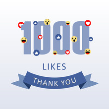 1000 Likes Thank You Number With Emoji And Heart- Social Media Gratitude Ecard