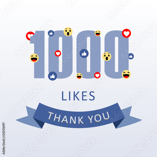 Fotografía  1000 Likes Thank you number with emoji and heart- social media gratitude ecard