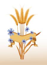 Strauß Aus Getreideähren Mit Banner Und Kornblumen