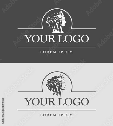 Fotografia Ancient Greece woman head logo template