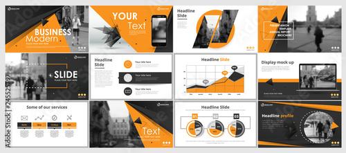 Fotografia  Abstract yellow, green presentation slides