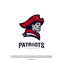 Patriots Logo Design Vector. Head Patriots Logo Design Template. Patriots Shield Logo Concept