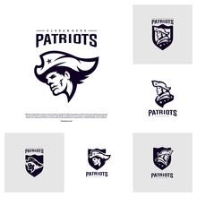 Set Of Patriots Logo Design Vector. Head Patriots Logo Design Template. Patriots Shield Logo Concept