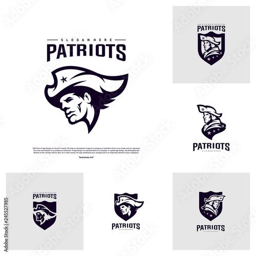 Set of Patriots Logo Design Vector. Head Patriots Logo Design Template. Patriots Shield logo Concept Wall mural