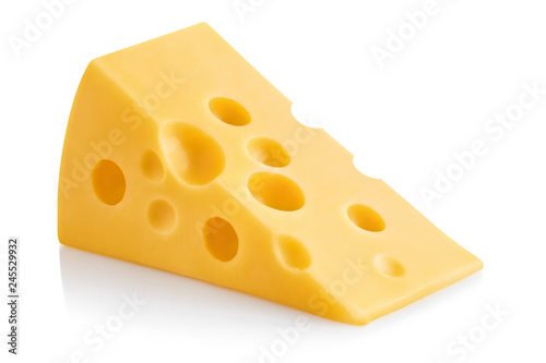 Fototapeta Delicious piece of cheese, isolated on white background obraz