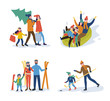 Winter Activity Parents and Kids Vector Isolated
