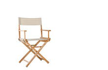 Modern Folding Fabric Wooden Movie Director Chair .Foldable Chair Isolated On A White Background Interior Design Furniture Living Room Concept, Clipping Path