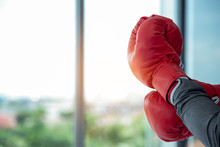 Close Up Of Hands Professional Confident Businessman Standing With Red Boxing Gloves .Tough Competitive Ready To Fighting Business And Financial Concept ,copy Space