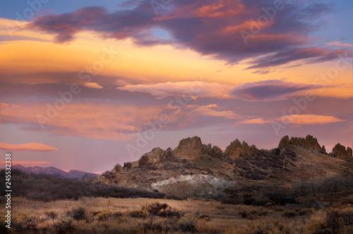 Foto op Aluminium Centraal-Amerika Landen Colorful Sunrise Clouds over Loveland's Devil Backbone Open Space