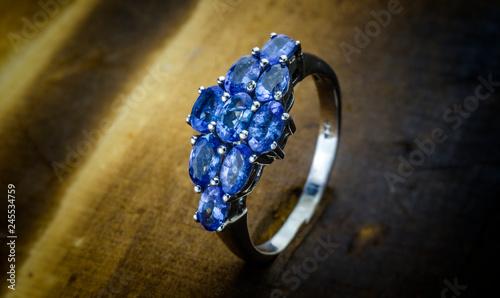 Fotografía  London, England - September 29, 2014: Women's Sparkling Blue Stone Fashion Ring
