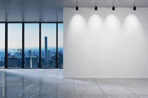 Leinwand Poster large office with blank white wall in front of panoramic window skyline view, 3D