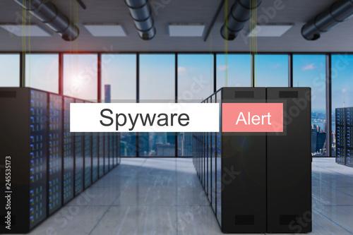 Fotografía  spyware alert in red search bar large modern server room skyline view, 3D Illust