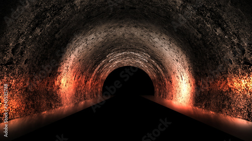 Fotografija Round underground tunnel, cave, mine