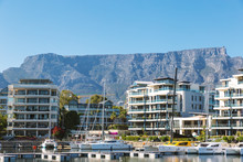 Luxury Apartment Buildings And Yachts And Table Mountain View In Cape Town