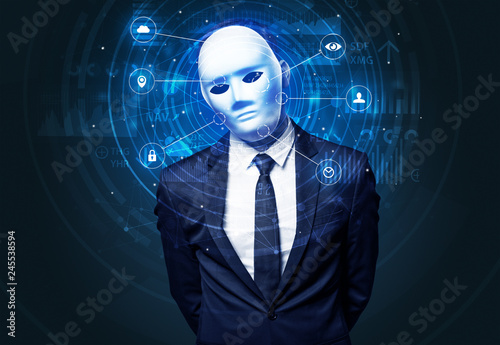 Fotomural  Facial recognition biometric technology and artificial intelligence concept