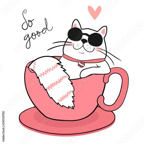 Obraz cute white fat cat with sun glasses sleeping in a coffee cup, draw - fototapety do salonu