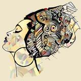 Portret śliczna afrykańska kobieta z kapeluszem (profil) - 245543393