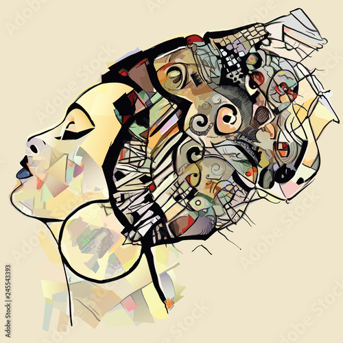 Autocollant pour porte Art Studio Portrait of cute african woman with hat (profile)