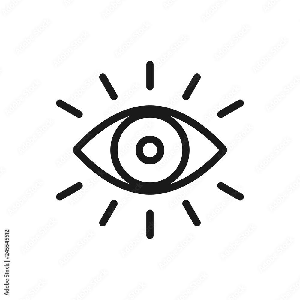 Fototapeta Eye icon thin line for web and mobile, modern minimalistic flat design. Vector dark grey icon on light grey background.