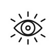 Eye icon thin line for web and mobile, modern minimalistic flat design. Vector dark grey icon on light grey background.