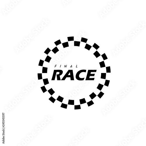Foto simple design race flag logo template, Race flag Icon - Vector