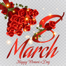March 8 Greeting Card Template. Women's Holiday. Greeting Card With Flowers, Bouquet Of Roses. Otkritka For Your Illustration.